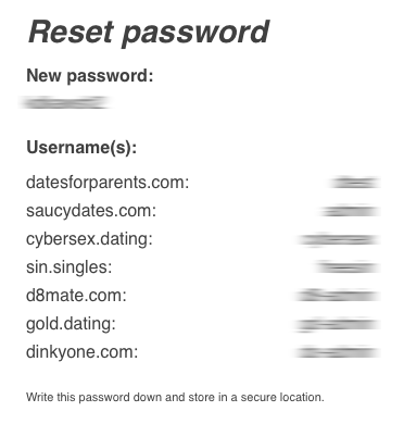 New passwords created